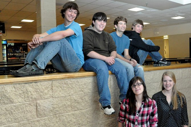 Top row, from left, Moffat County High School students Matt Balderston, Cullen Dilldine, Skyler Leonard and Ben East qualified for a state speech and debate event at a district competition Feb. 24 and 25. Morgan Carrico, bottom left, and Rose Howe, also qualified for the state event, scheduled for March 16 and 17 in Fort Collins.