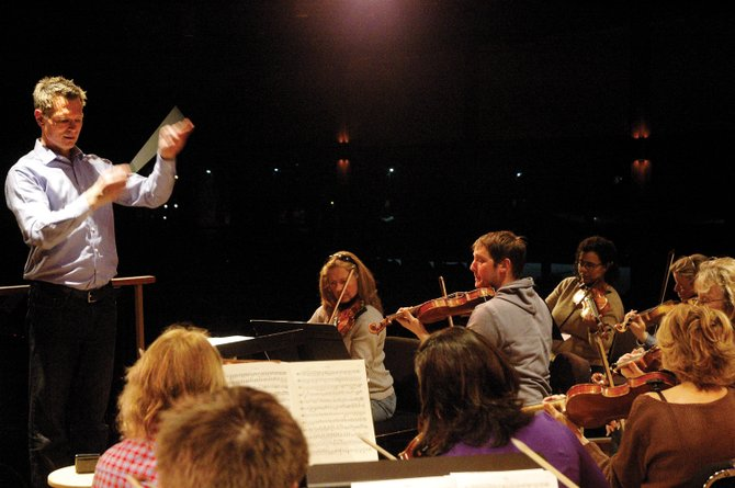 Ernest Richardson leads a rehearsal for the strings section of the Steamboat Symphony Orchestra during a March rehearsal at Strings Music Pavilion.
