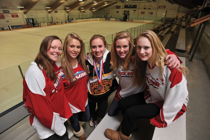 Local hockey players, from left, Marley Loomis, Sara Stout, Monica Patten, Becky Brown and Teagann Yeager will be headed to Dallas at the end of the month to play a part of regional all star teams hoping to land national titles.
