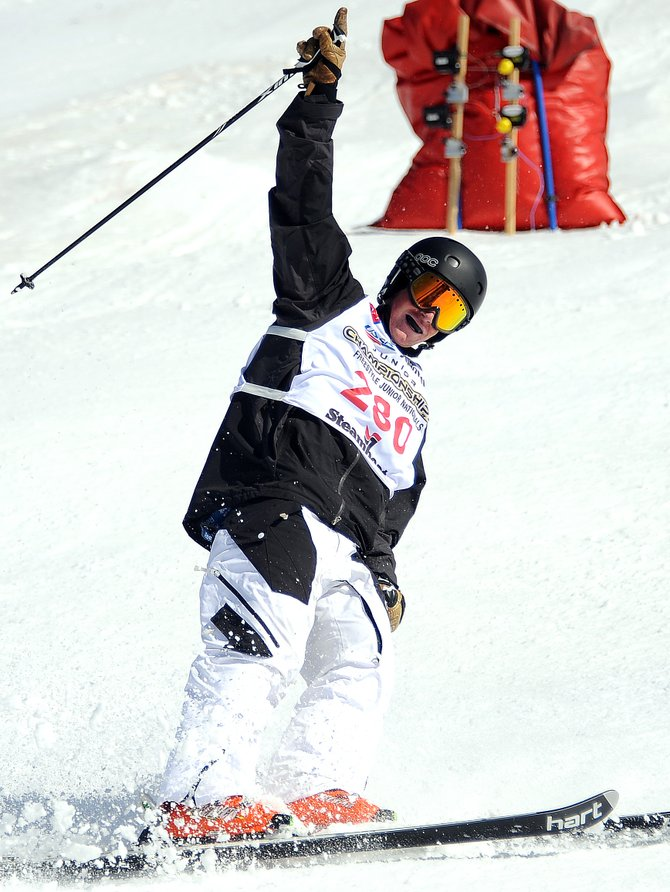 Steamboat skier Michael DeGrandis throws a No. 1 up in celebration Sunday after finishing his run in the finals of the dual moguls event at the Freestyle Junior Nationals  in Steamboat Springs. After finishing second in the individual moguls Friday, DeGrandis won Sunday's competition.