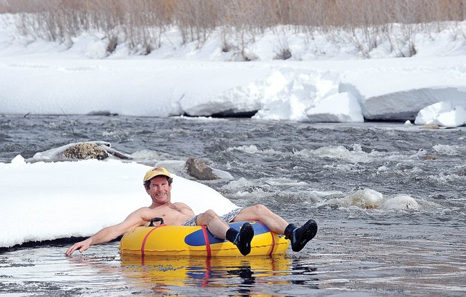 Steamboat Living Magazine Editor Eugene Buchanan celebrates Steamboat Shrinkage: of the snowpack, that is.