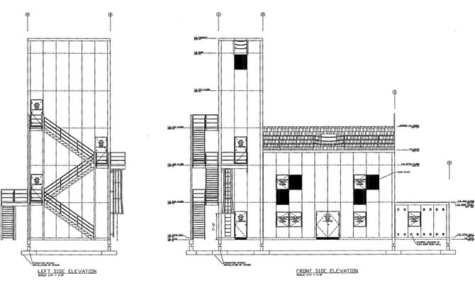 A side view drawing of the Craig Rural Fire Protection District's proposed training tower and live burn structure which could be completed by the end of summer. The building will provide Craig Fire/Rescue volunteers with the opportunity to participate in state mandated live burn training at home.