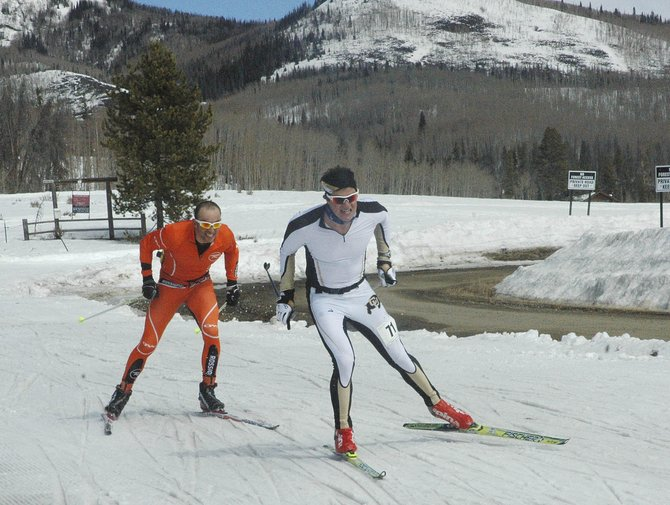 Rune Oedegaard, right, and Josh Smullin race toward the finish Saturday during the Glide the Divide — formerly the North Routt Coureur des Bois — 90-kilometer skate race. Oedegaard, a sophomore at the University of Colorado, was able to do just enough to get the win.