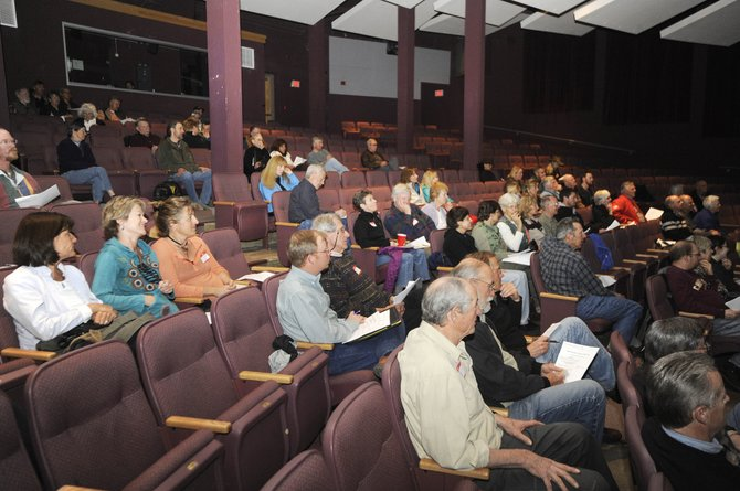 People attend an oil and gas forum hosted by the Community Alliance of the Yampa Valley on Wednesday night at Steamboat Springs High School.