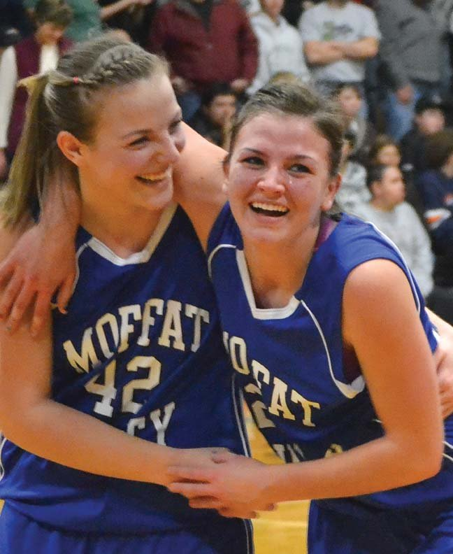 Annie Sadvar, left, and Melissa Camilletti celebrate after narrowly beating Delta High School during the basketball season. The two Moffat County High School seniors were selected to play in the Colorado Coaches of Girls' Sports all-state basketball game this Sunday in Arvada.