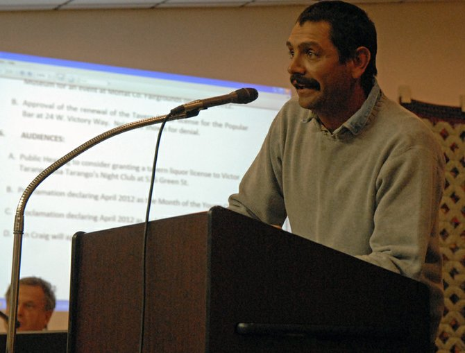 Victor Tarango addresses the Craig City Council Tuesday night during a public hearing to consider approval for retail gaming and tavern liquor licenses for Tarango's nightclub at 535 Green St. in Craig. The permits were denied unanimously due to alleged false information on Tarango's application.