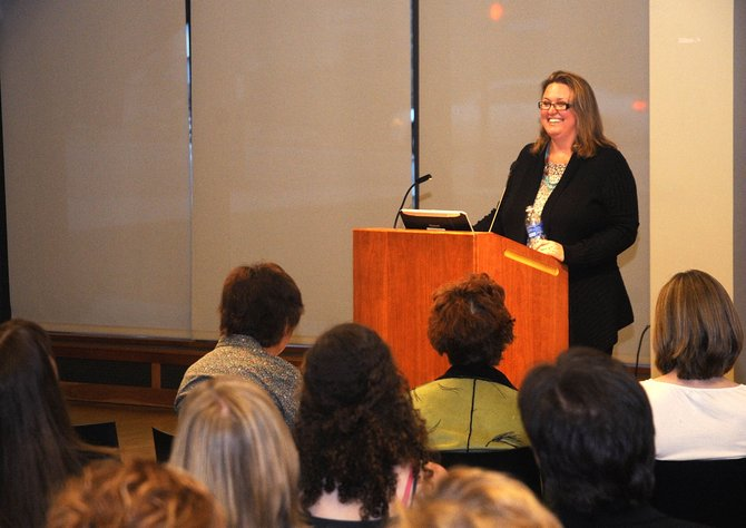 National Public Radio reporter Debbie Elliott speaks Wednesday night at Bud Werner Memorial Library.