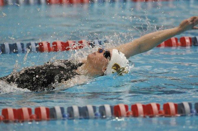 Kelsey Conci, a 2008 Moffat County High School graduate and senior at University of Wyoming, swims the 100-yard backstroke during the NCAA Championships in Auburn, Ala. Kelsey wrapped up her collegiate career at the NCAA Championships but will swim this summer in the 2012 Olympic Trials.