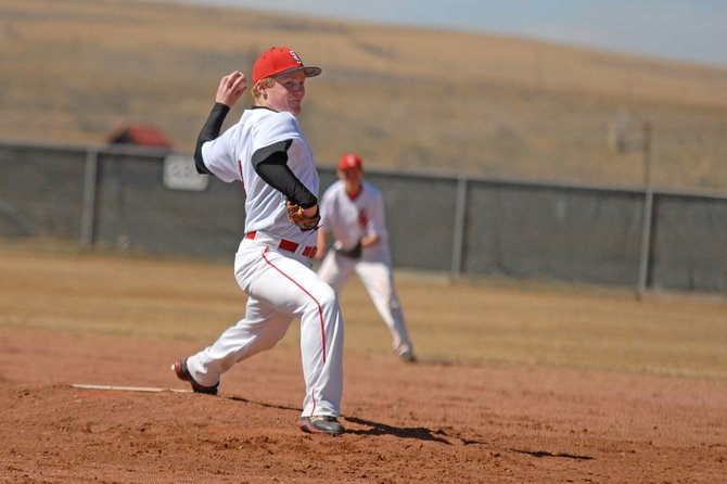 Steamboat Springs senior pitcher Tommy Lyon throws a pitch during the first game of a doubleheader against Delta on Saturday at Woodbury Sports Complex in Craig.