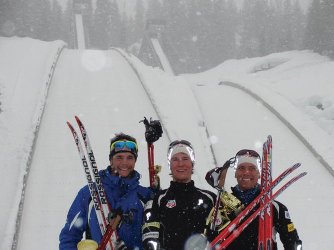 Steamboat Springs' Adam Loomis, center, poses with Wes Savill, left, and teammate Cliff Field after winning the Canadian National 10-kilometer Nordic combined event Saturday afternoon in Whistler, British Columbia. Savill was second, and Field finished third in the race.