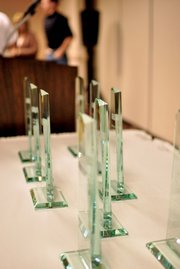 Awards sit on a table Wednesday before a Moffat County United Way luncheon at Holiday Inn of Craig. The organization recognized more than 20 local businesses and entities that contributed to its 2012 fundraising campaign.