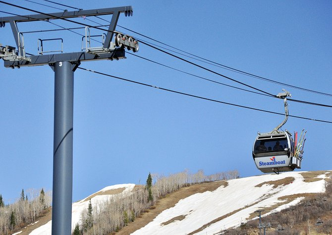 A gondola car brings skiers back from Thunderhead on Sunday over the closed lower-mountain terrain at  Steamboat Ski Area. The ski area will reassess Tuesday whether it can stay open until Closing Day on April 15.