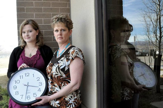 "Amber Hampton, left, of Craig, and Karen Zimmerman, Moffat County Sex Assault Response Team coordinator, will speak at a presentation Wednesday at Moffat County High School that coincides with Sexual Assault Awareness Month. The theme for the event is ""It's Time to Talk About It."""