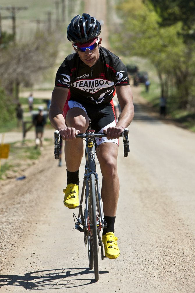 Steamboat Velo cyclist Bryce Davies races in the Boulder Roubaix. Davies finished 48th in the Men's 1-2 Category and was one of three Steamboat Velo team members competing in the race, which drew more than 800 athletes.