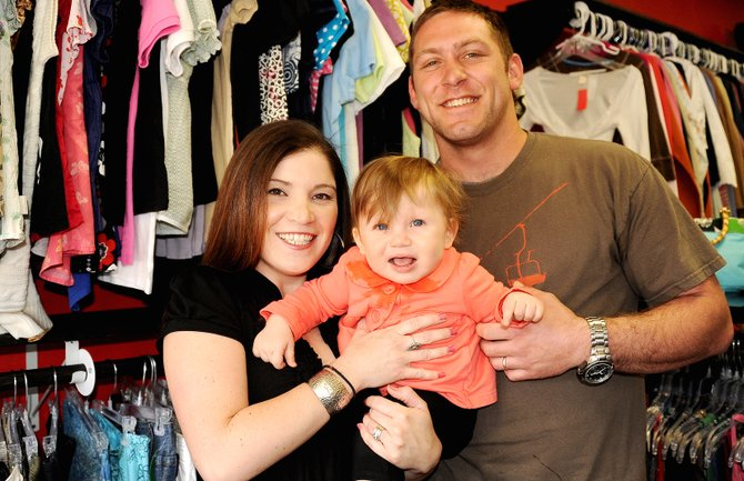 Megan and Paul Jonathans, seen with their 10-month-old daughter Seva, opened the consignment store Finders Keepers in January in Steamboat Springs.