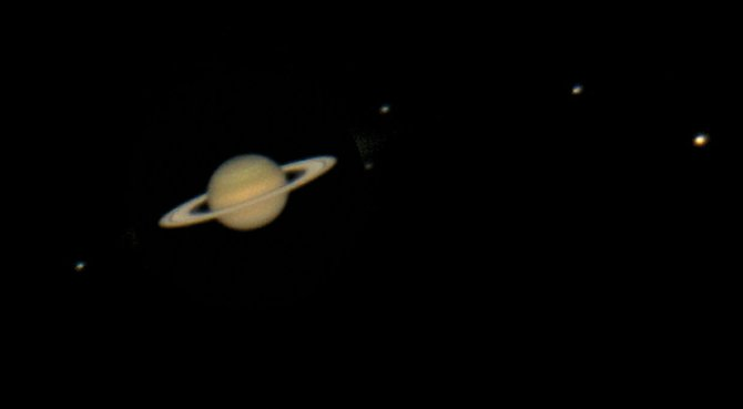 This month is perfect for viewing Saturn because the planet passed opposition, its closest point to Earth, on April 15. In this image, taken last April through a 1-meter telescope at McDonald Observatory near Fort Davis, Texas, Saturn's icy rings gleam brightly in the sunlight with its entourage of moons in tow: from left, Tethys, Enceladus, Dione, Rhea and gigantic Titan.