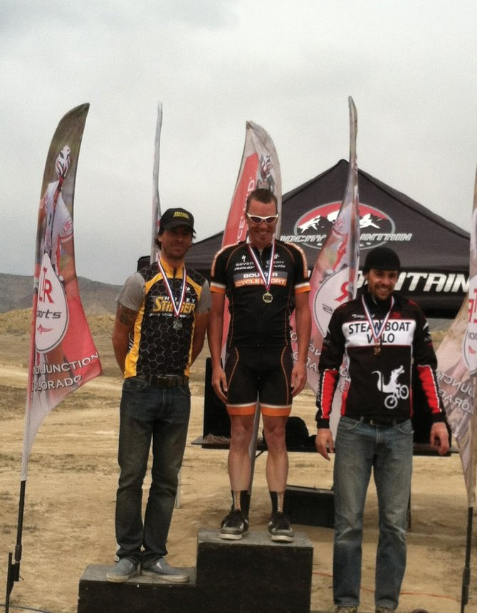 Steamboat Velo member Corey Piscopo, right, finished third during the weekend at a mountain bike race in Fruita.