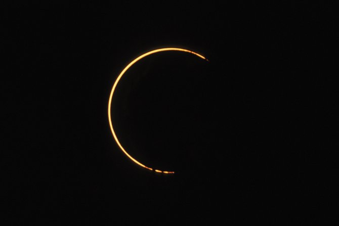Imagine seeing something like this in the sky (using a safe solar filter, of course) on May 20. Thats when the moon will slip between the Earth and the sun and create an annular, or ring, eclipse across the American southwest. From Northwest Colorado, the event will be off center, perhaps resembling this image of the sun taken during the annular solar eclipse of May 30, 1984, from Gainesville, Ga.