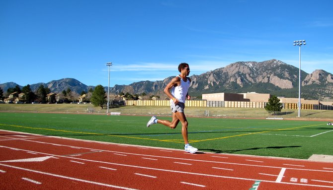 Roberto Mandje trains on a track in Boulder. Mandje, who competed in the 2004 Olympics and is training for the 2012 Olympic Games in London, will compete Saturday in the Steamboat Springs Running Series' opening event, the Spirit Challenge.