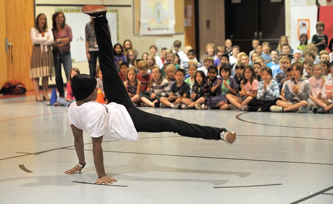 Dancer Brandon Douglas, with the BE Life dance crew, performs Friday morning at Strawberry Park Elementary School during a presentation by Steamboat Dance Theatre. The group also will be teaching workshops Saturday in Steamboat Springs.