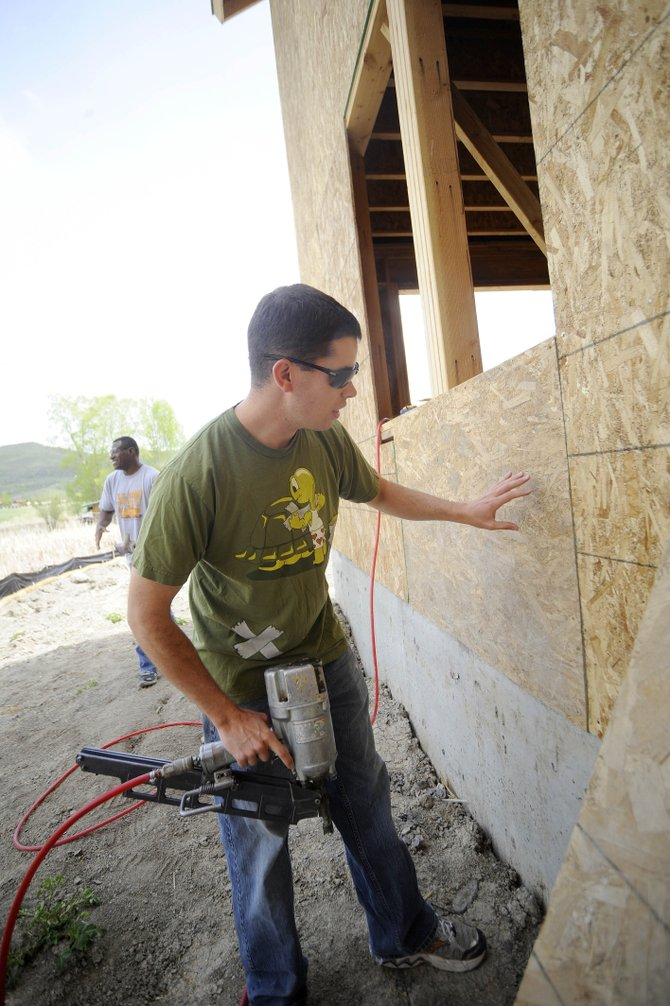 Patrick Kuczkowski works Friday at the Routt County Habitat for Humanity duplex being built on Honeysuckle Lane.