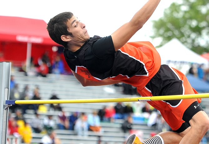 Haydens Jorge Valdez soars over the bar Saturday during the Class 2A high jump competition at the state track meet in Lakewood. Valdez finished fourth in the event. It was the highest a Routt County athlete placed at this years state meet.