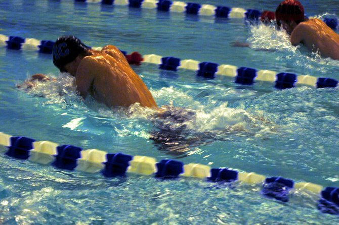 Moffat County High School junior Matt Hulstine pulls ahead in the breaststroke event at the Moffat County Invitational. Hulstine placed seventh in the 100-yard breaststroke and 15th in the 100-yard butterfly at the 4A state championships last weekend in Thornton.