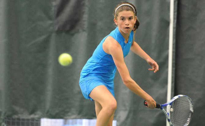 Tamy Katthain lines up to return a ball Monday in the girls finals of the Intermountain 12 and Under Championships at the Tennis Center at Steamboat Springs. Katthain won the match, beating fellow Steamboater, Tatum Burger, 1-6, 6-1, 6-1.