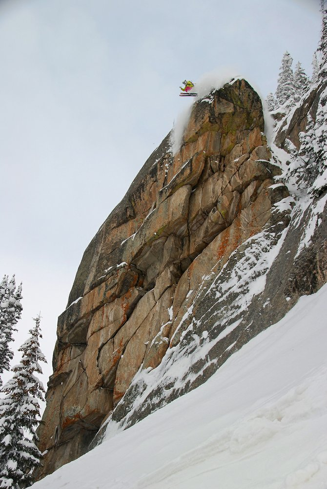 Ned Cremin's photo of Kerry Lofy hucking Hell's Wall was named a winner in a Teton Gravity Research contest.