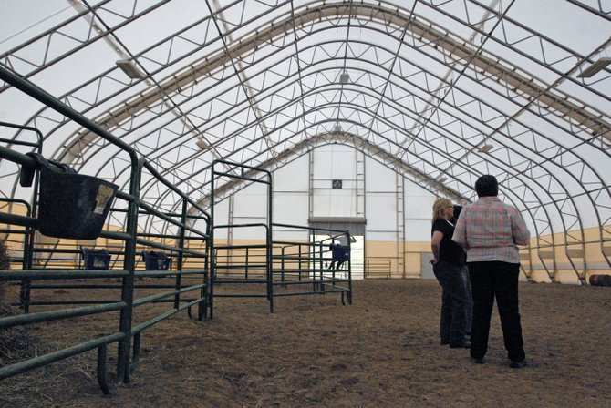 This horse arena, located at the residence of Dr. Scott and Connie Sue Ellis east of downtown Craig, could be the future site of a therapeutic horse riding center. Nine Yampa Valley residents met Sunday night at the Ellis home to discuss ways to get a local therapeutic horse riding organization established in Craig.