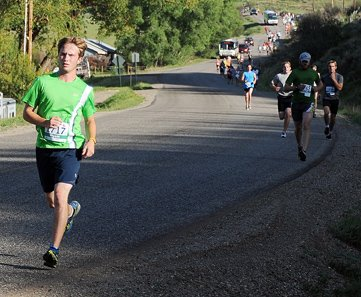Wyatt Villa runs ahead of a pack during the half marathon at the Steamboat Marathon Sunday. It was Villa's first ever half marathon, and he placed 23rd, recording a time of 1:31:58. Villa was one of seven Craig runners to place in the top 50 in the race.