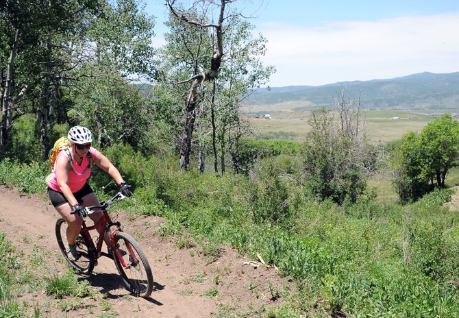 The Rotary Trail provides sweet views of Routt County and Sleeping Giant. It's not about the views, however. Instead, the draw is the sweeping, rolling terrain carefully morphed into a trail that's not too challenging.