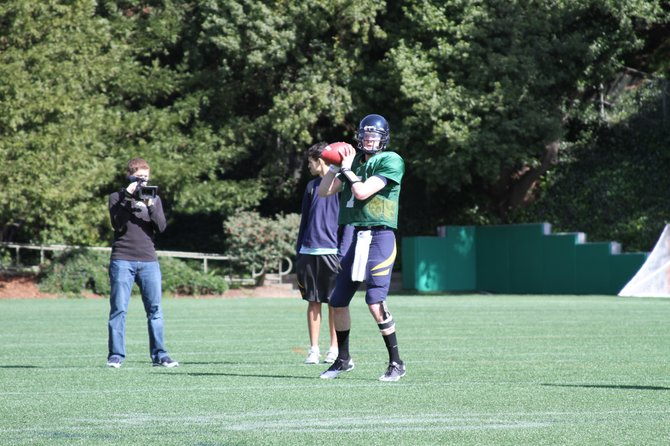 Former Steamboat Springs High School quarterback Austin Hinder prepares to throw a pass during practice at the University of California. Hinder is battling for the No. 3 quarterback spot.