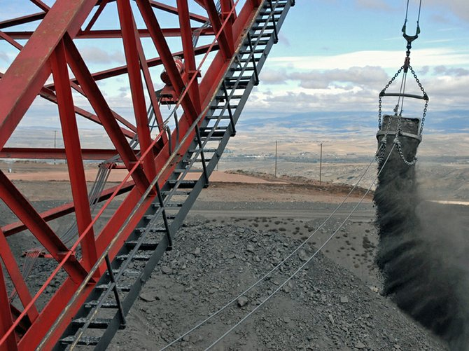 A dragline dumps coal at Trapper Mining, Inc.'s surface operation in Craig. Trapper Mining, Inc. was one of the few Colorado companies to increase coal production between 2004 and 2011.