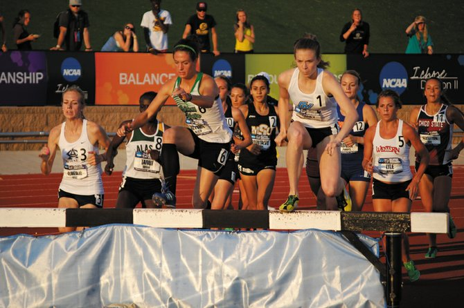 2009 Moffat County High School graduate Alicia Nelson (No. 6) clears the water barrier during the 2012 Division II national championship 3,000-meter steeplechase on May 25. Nelson, who will be a redshirt-junior next track season, ran fast enough during the season to qualify for the U.S. Olympic Trials in the steeplechase.
