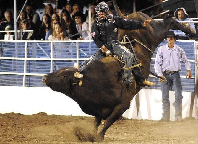Hayden's Jake Booco rides last year in the Steamboat Springs Pro Rodeo series in Steamboat Springs. The rodeo is back this year, starting at 7:30 p.m. today at Brent Romick Rodeo Arena.