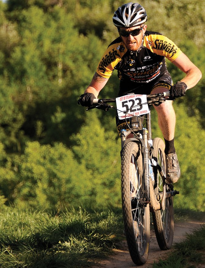 Nate Bird and his favorite pair of spandex attack the course during a Town Challenge Mountain Bike Race Series event last summer.
