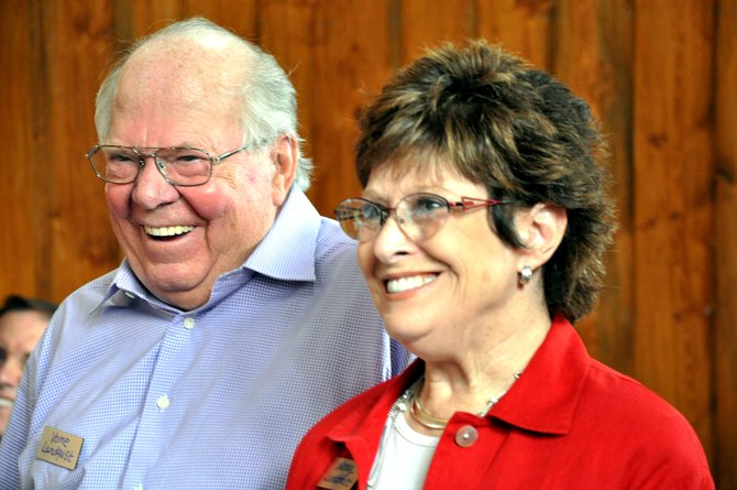 Verne and Nancy Lundquist laugh Sunday before accepting the Yampa Valley Community Foundation's individual Philanthropist of the Year award.
