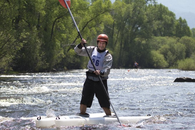 Take Me to the River, Walk Me on the Water: Eugene Buchanan testing the knee-tweaking Ski Yaks at the Yampa River Festival.