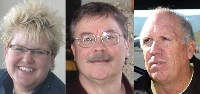 "Brita Horn, left, Tony Stich and Jim ""Moose"" Barrows"
