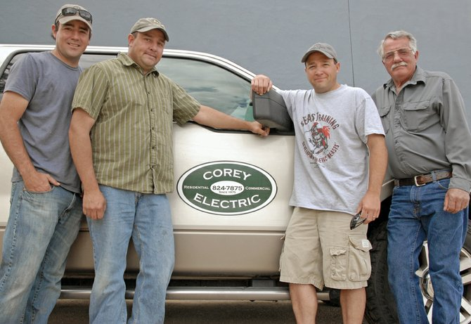 Craig Daily Press readers named Corey Electric as best electrician as part of the 2012 Best of Moffat County contest. Above, members of the family-operated business pause for a photo before traveling to a job in Wyoming. From left are Grant, Dave, Jr., Roger and Dave Corey. Not pictured: Janet Corey.