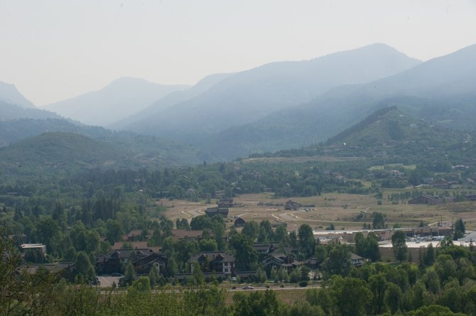 A smokey haze hangs in the Yampa Valley early Friday morning. Officials think the haze primarily is from fires outside of Routt County.