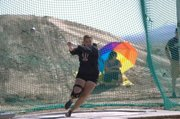 2010 Moffat County High School graduate Lindsey Yoast throws the hammer at a meet at the University of New Mexico earlier this season. Yoast just finished her sophomore year at Western State College of Colorado.