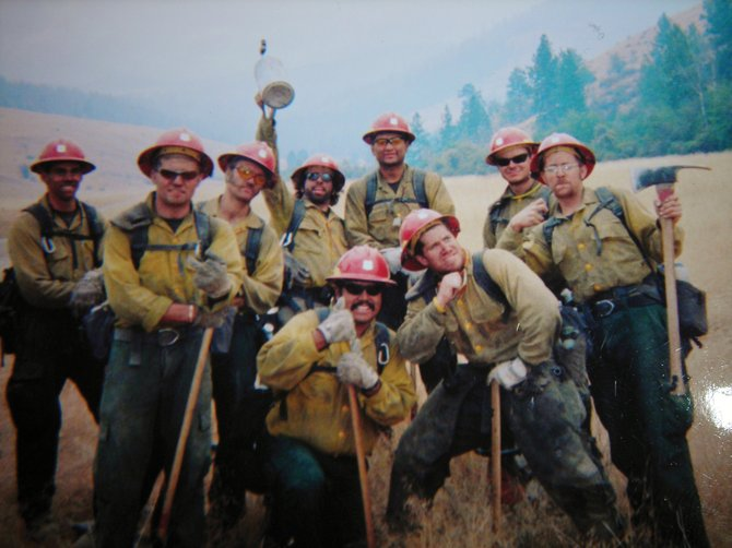 Aaron Alpe, far right, stands with other members of the Tatanka Hotshots in 2005. Alpe, a Steamboat resident, is part of a campaign to secure health insurance benefits for seasonal firefighters.