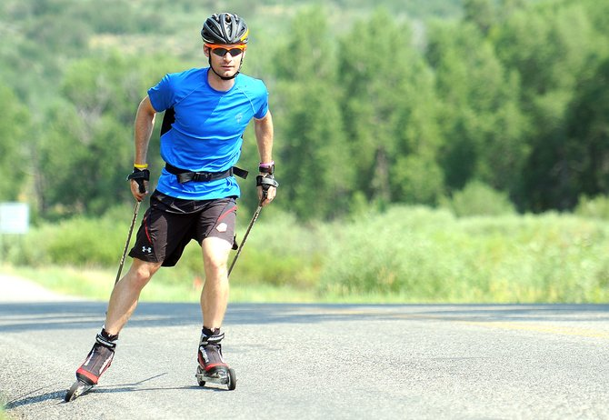 U.S. Ski Team Nordic combined skier Bryan Fletcher works out Friday morning on River Road in Steamboat Springs. Fletcher soared to his best season with the team last winter and hopes to build on that success this coming year.