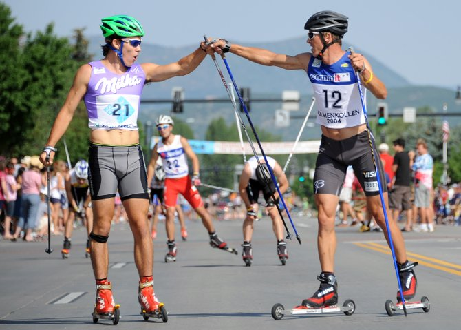 Todd Lodwick, right, won the morning&#39;s roller-ski cross-country race that preceded the Fourth of July Parade in downtown Steamboat Springs.