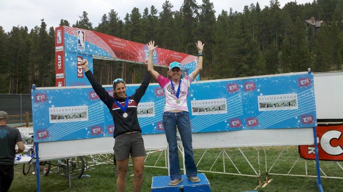 Steamboat Springs rider Kate Rench stands atop the podium Wednesday at the Breckenridge Firecracker 50. Rench won the expert women 40-49 division in 4 hours, 30 minutes and 52.8 seconds.