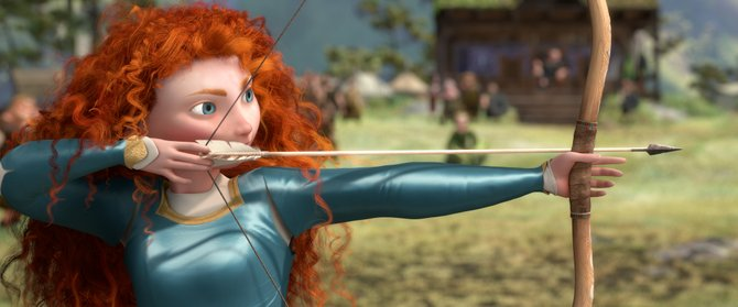 "Merida (voice of Kelly Macdonald) draws back her bowstring to prove her mettle in ""Brave."" The movie is the 13th feature from animation studio Pixar, and focuses on a Scottish princess who longs for freedom instead of the life her parents have planned for her."