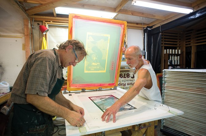 Printers Theo Dexter, left, and Mitch Uttech make limited edition prints celebrating the Perry Mansfield Performing Arts School and Camp in Strawberry Park.