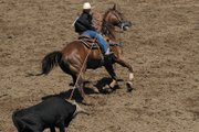 A rodeo cowboy heads the steer Sunday during junior team roping at the Moffat Country Little Britches Rodeo at the Moffat County Fairgrounds. The Little rodeo attracted 75 contestants from three different states, and was one of the final rodeos before the Little Britches National Championships July 23 in Pueblo. 